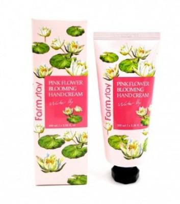 Крем для рук с водяной лилией FARMSTAY Pink flower blooming hand cream water lily 100 мл: фото
