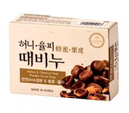 Отшелушивающее мыло с экстрактом меда и каштана DONGBANG Honey & chestnut shell stain remover soap 100 г: фото