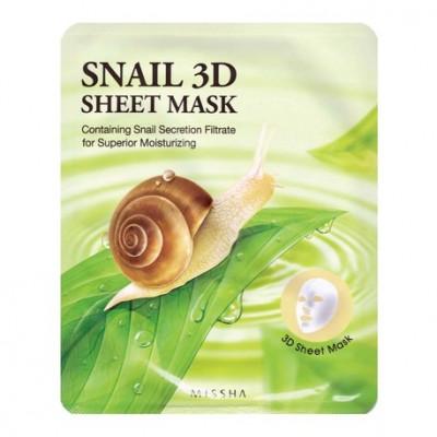 Маска тканевая с муцином улитки MISSHA Healing Snail 3D Sheet Mask: фото