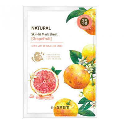Маска тканевая грейпфрут THE SAEM Natural Skin Fit Mask Sheet [Grapefruit] 20ml: фото