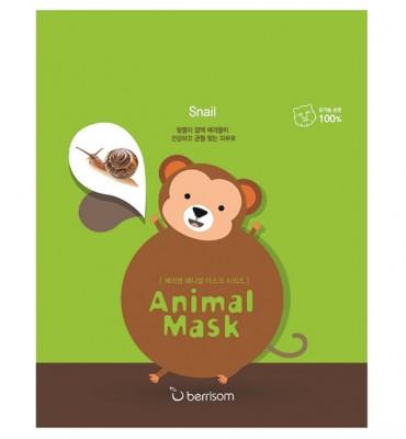 Маска тканевая с муцином улитки Berrisom Animal mask series monkey 25мл: фото