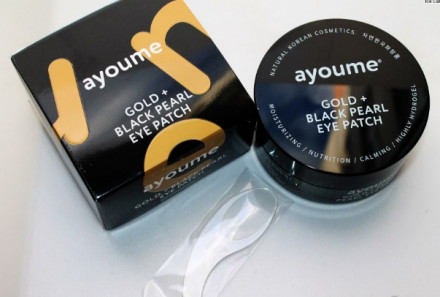 Патчи для глаз от темных кругов с золотом и черным жемчугом AYOUME GOLD+BLACK PEARL EYE PATCH 1,4г*60: фото
