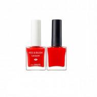 Набор лак для ногтей + тинт для губ и румяна THE SAEM Kiss&Blush Lacquer & Kissholic Nails OR01 9,5г+9.5г: фото