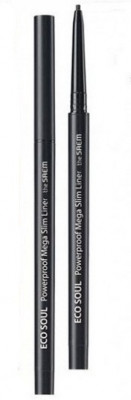 Подводка для глаз тонкая THE SAEM Eco Soul Powerproof Mega Slim Liner 01 Deep Black 0.07г: фото