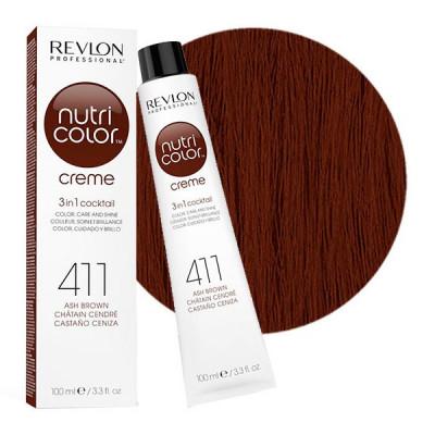 Краска для волос без аммиака Revlon Professional Nutri Color Creme 411 Коричневый 100мл: фото