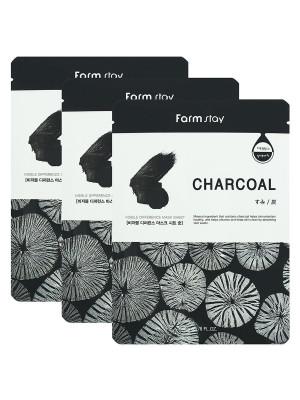 Набор тканевых масок с углем FarmStay CHARCOAL VISIBLE DIFFERENCE MASK SHEET 23мл*3шт: фото