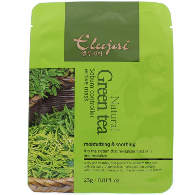 Тканевая маска для лица с зеленым чаем Elujai Sebum Controller Active Mask Green Tea Essence 23 г: фото