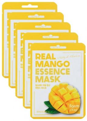 Набор тканевых масок с экстрактом манго FarmStay REAL MANGO ESSENCE MASK 23мл*5: фото