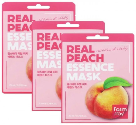 Набор тканевых масок с экстрактом персика FarmStay REAL PEACH ESSENCE MASK 23мл*3: фото