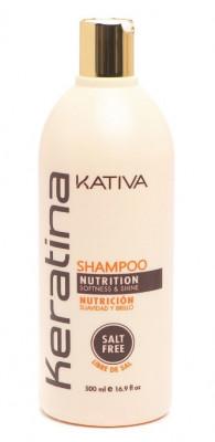 Укрепляющий шампунь с кератином для всех типов волоc Kativa KERATINA 500мл: фото