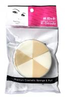Спонж косметический в кейсе двухцветный 6 сегментов K-Beauty Premium Cosmetic Sponge NR-5: фото